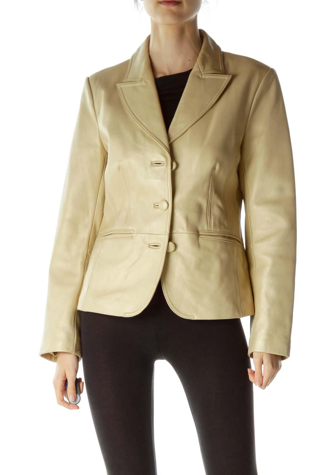 Beige Shiny Leather Jacket