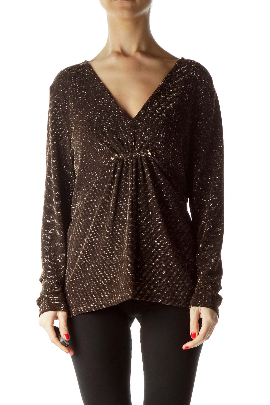 Brown Gold Metallic Long-Sleeve Blouse