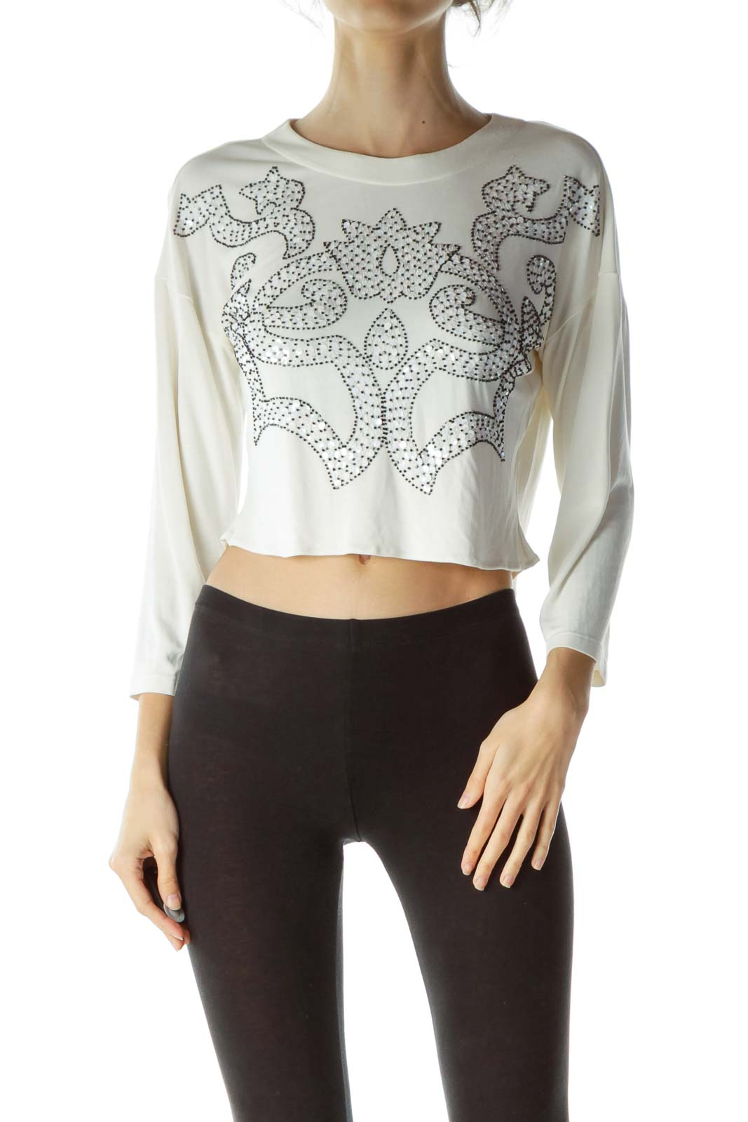 Cream Embroidered Sequin Design Blouse
