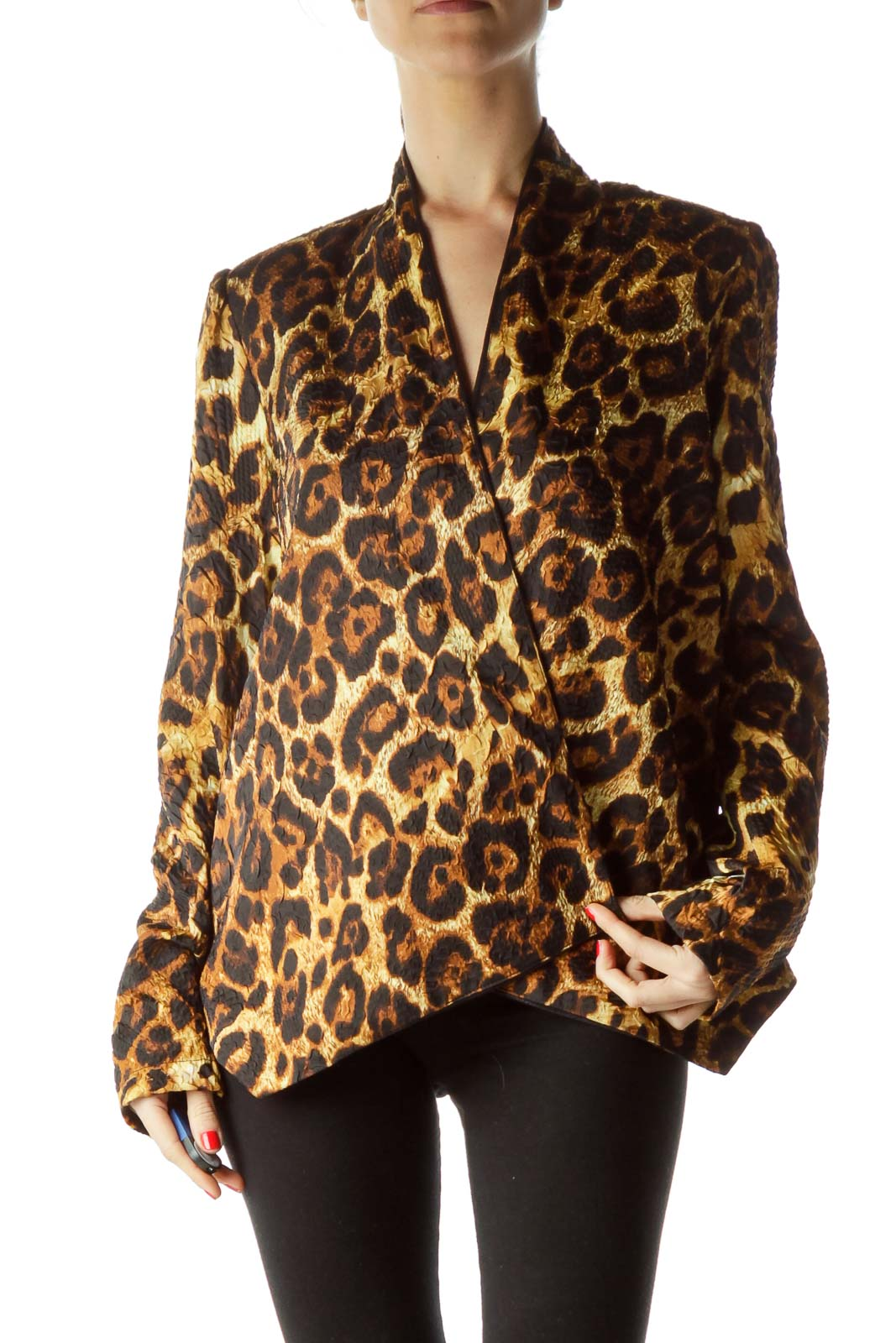 Gold Black Animal Print Blazer