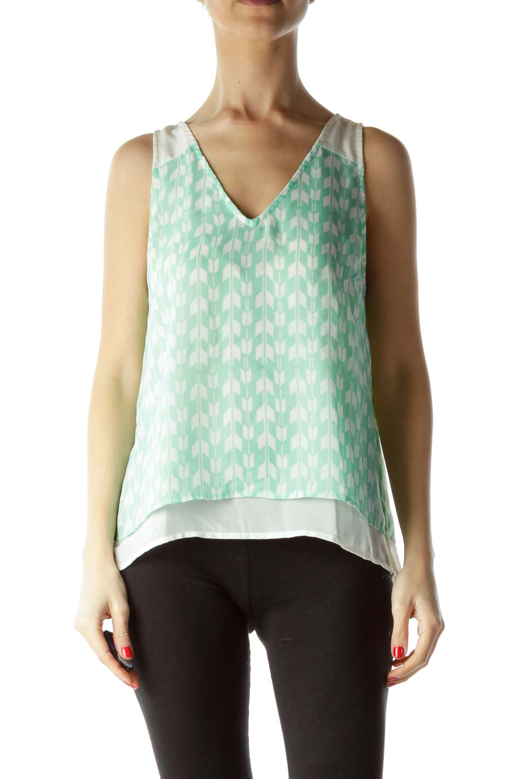 Green Cream Print Sleeveless Blouse