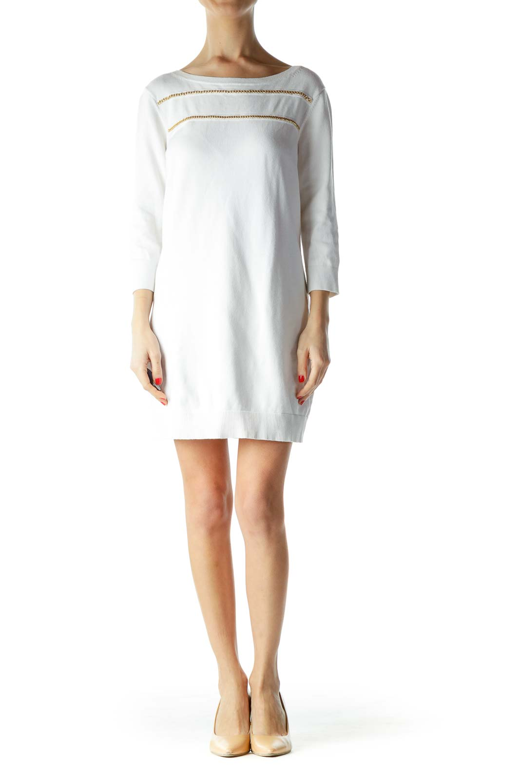 White Gold Chain 3/4 Sleeve Knit Dress