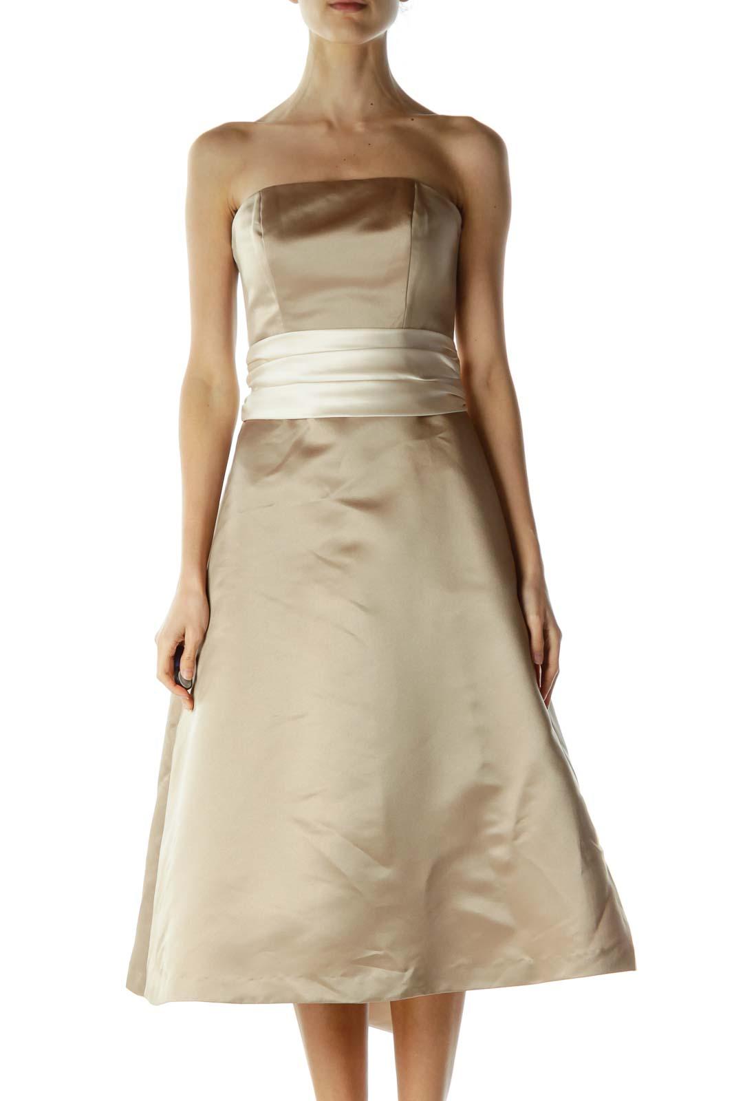 Beige Cream Ribbon Wrap Strapless Dress