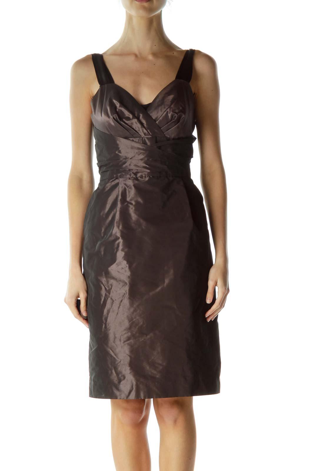 Purple Shiny Empire Waist Cocktail Dress