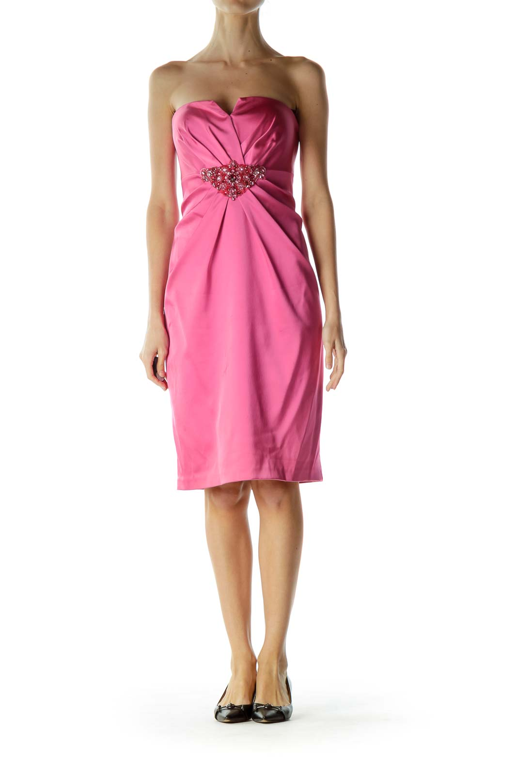 Pink Strapless Cocktail Dress with Beaded Detail