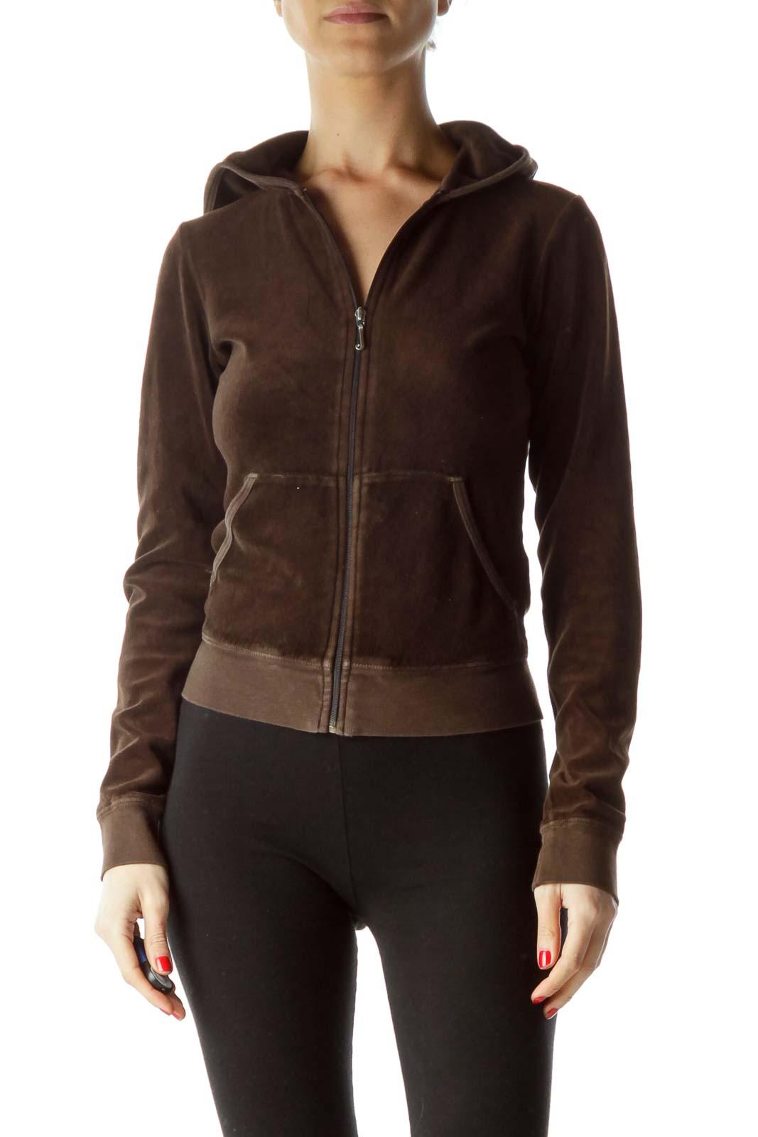Brown Back Logo Design Hooded Jacket