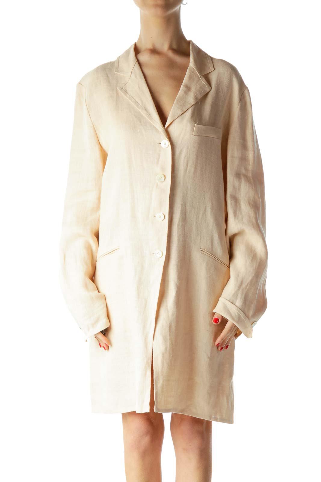 Coral Pink 100% Linen Long Knit Blazer