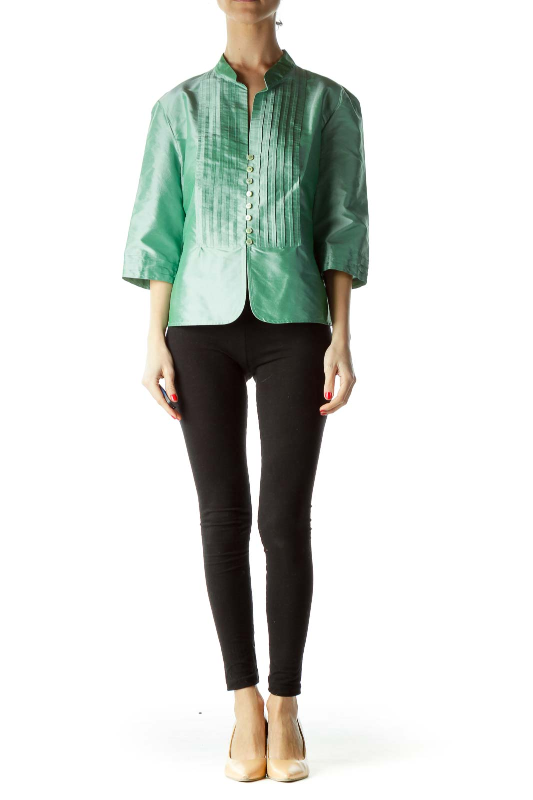 Green 100% Silk 3/4 Sleeve Pleated Blouse