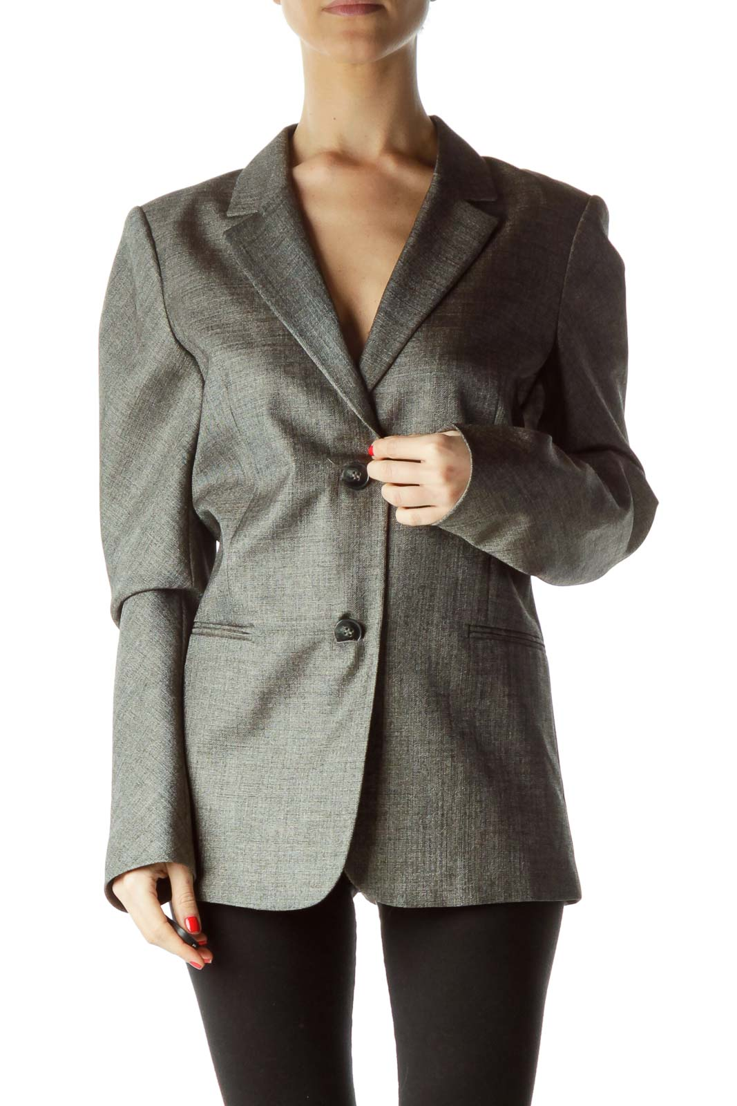 Gray V-Neck Slightly Metallic Blazer