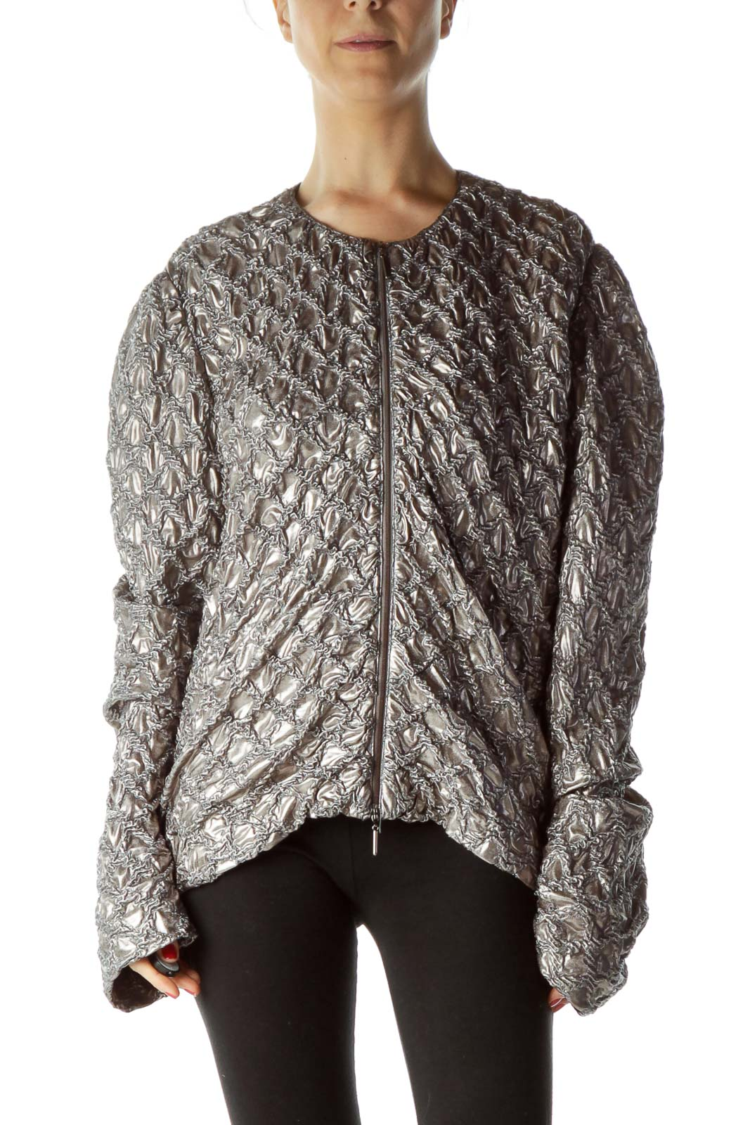 Gray Metallic Zippered Fitted Jacket