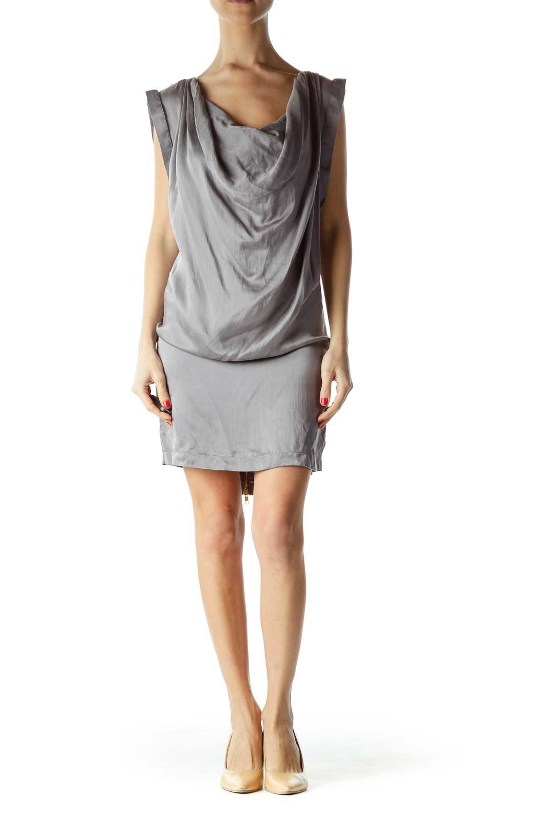 Gray Silk Zippered Boat Neck Cocktail Dress
