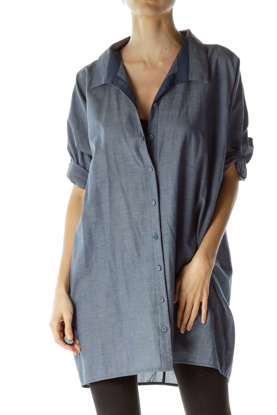 Blue 100% Cotton Buttoned Shirt
