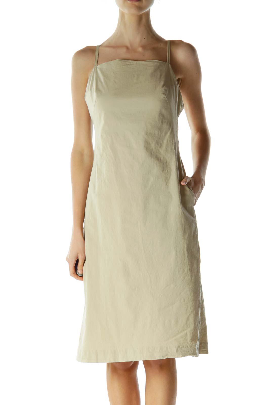 Beige Pocketed Spaghetti Strap Day Dress