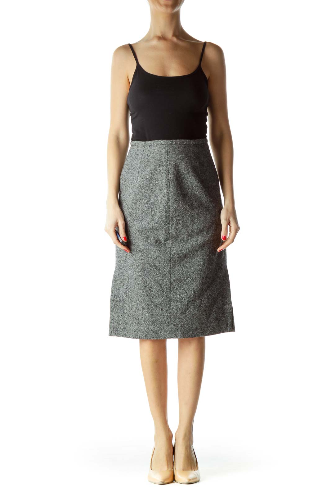 Gray Mottled Work Skirt