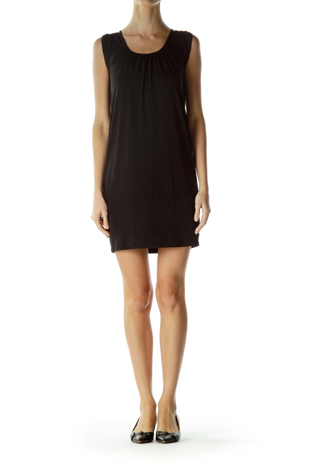 Black Boat Neck Shift Dress