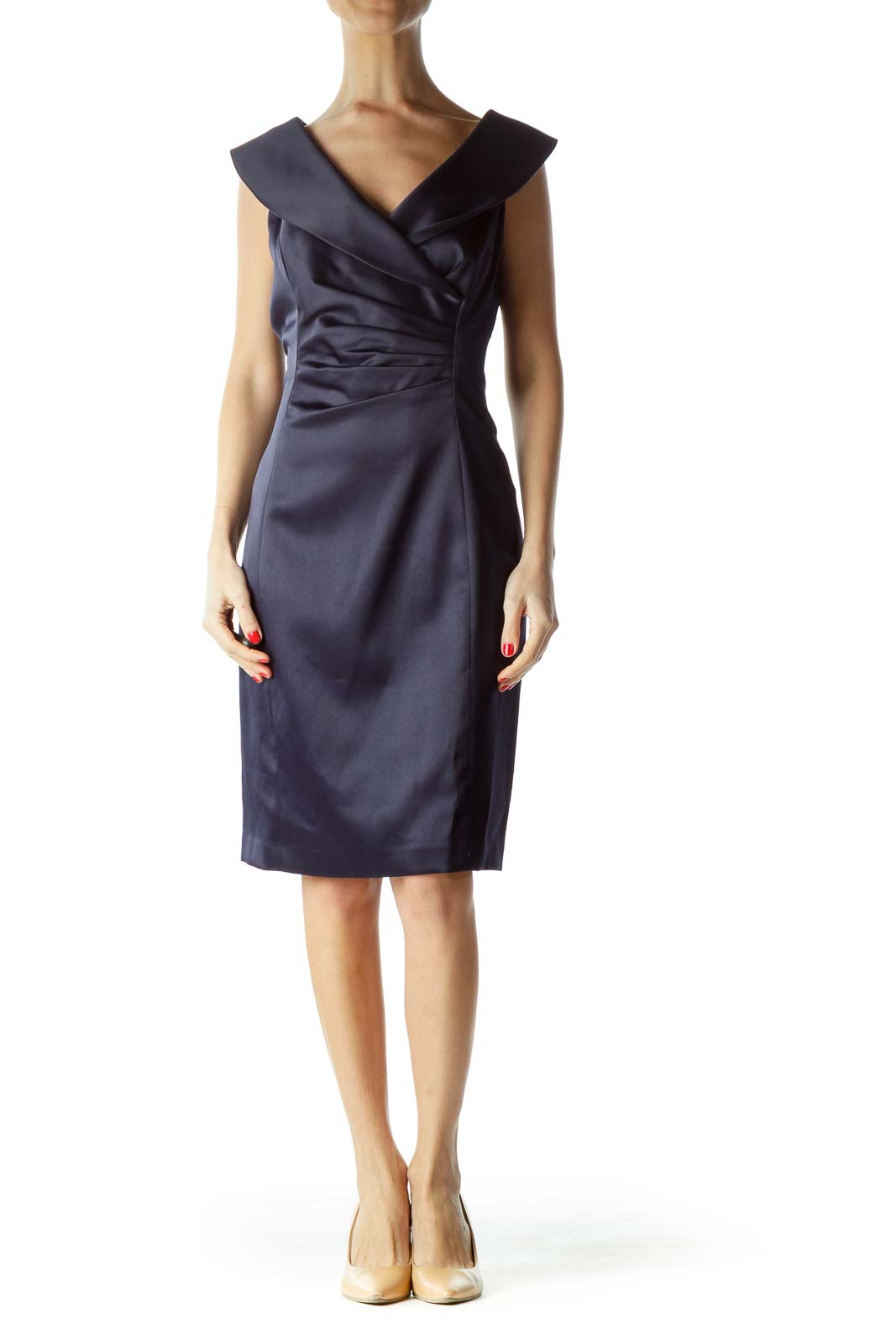 Navy Scrunched Collared Cocktail Dress