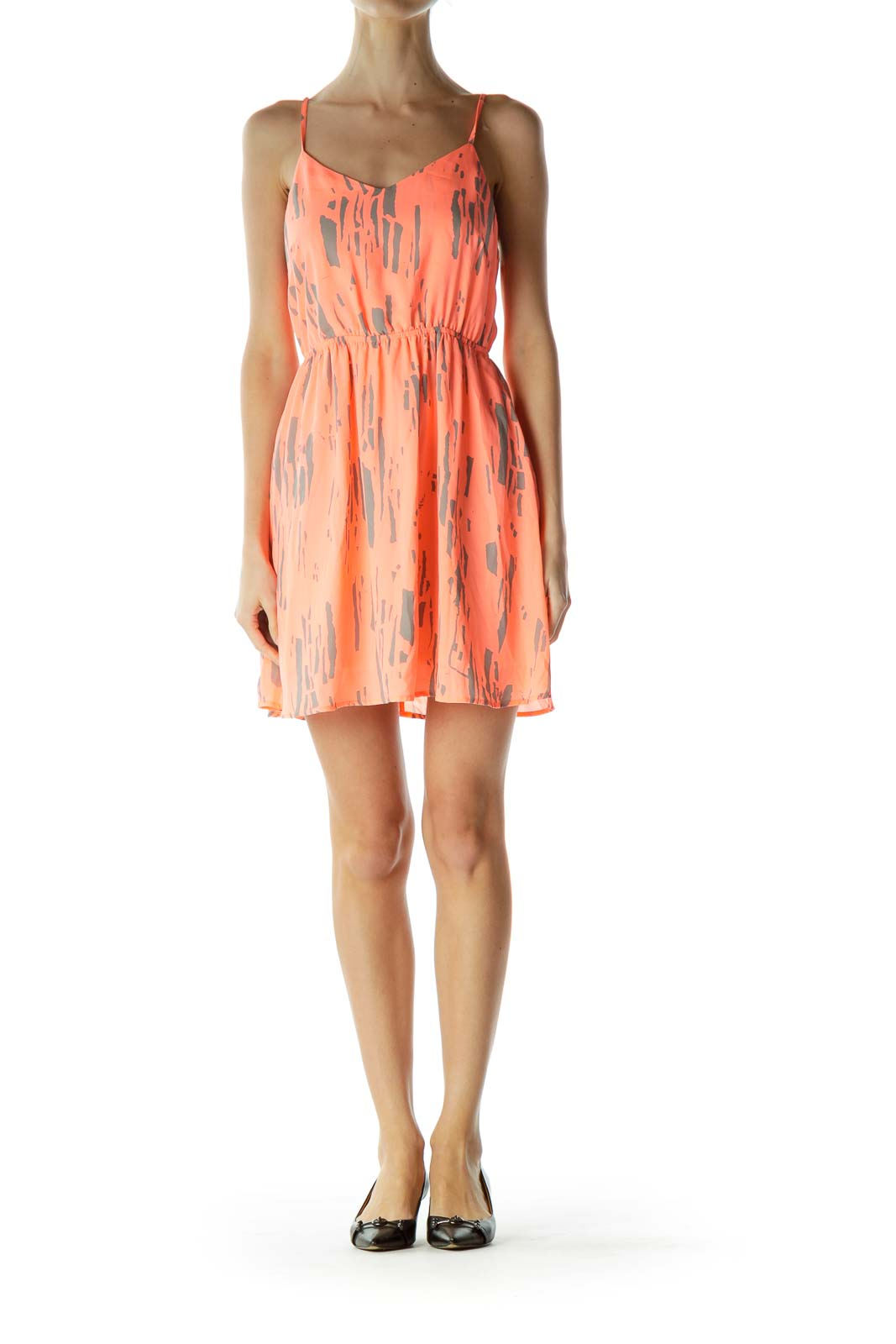 Orange Gray Printed Day Dress