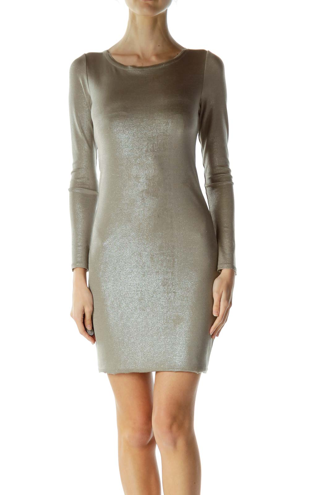 Silver Shiny Zippered Bodycon Dress