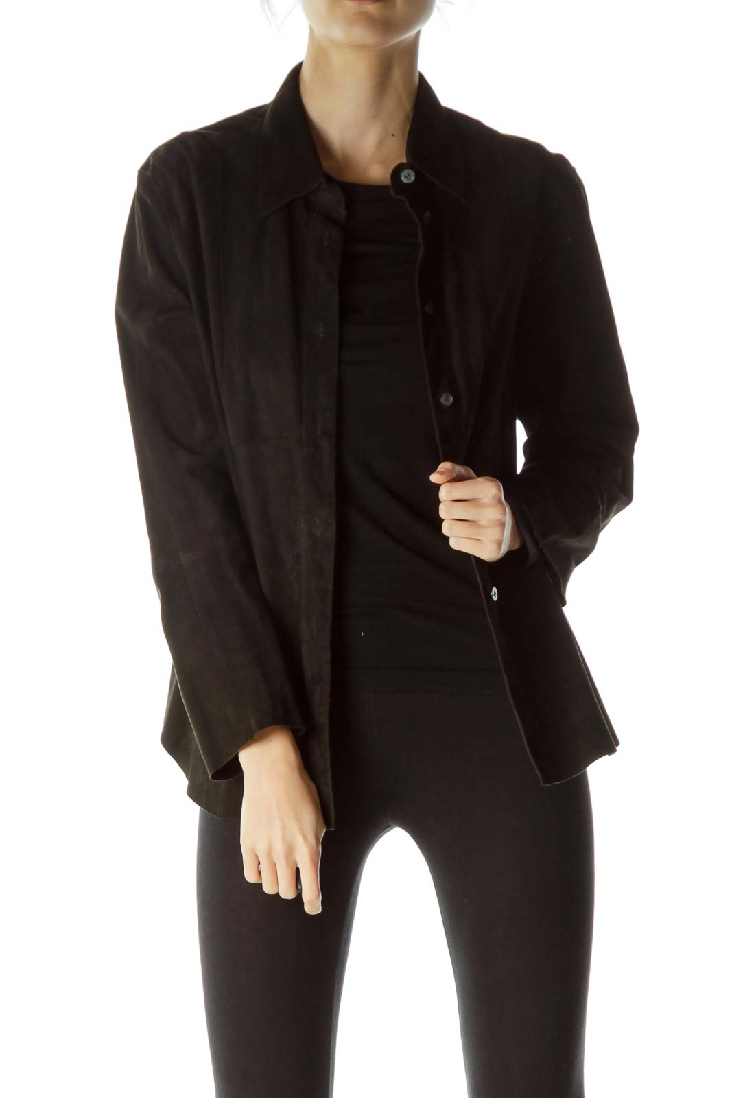 Black Buttoned Leather Jacket