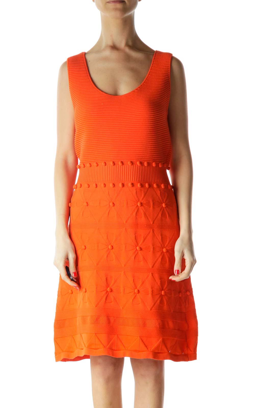 Orange Sleeveless Knit Dress