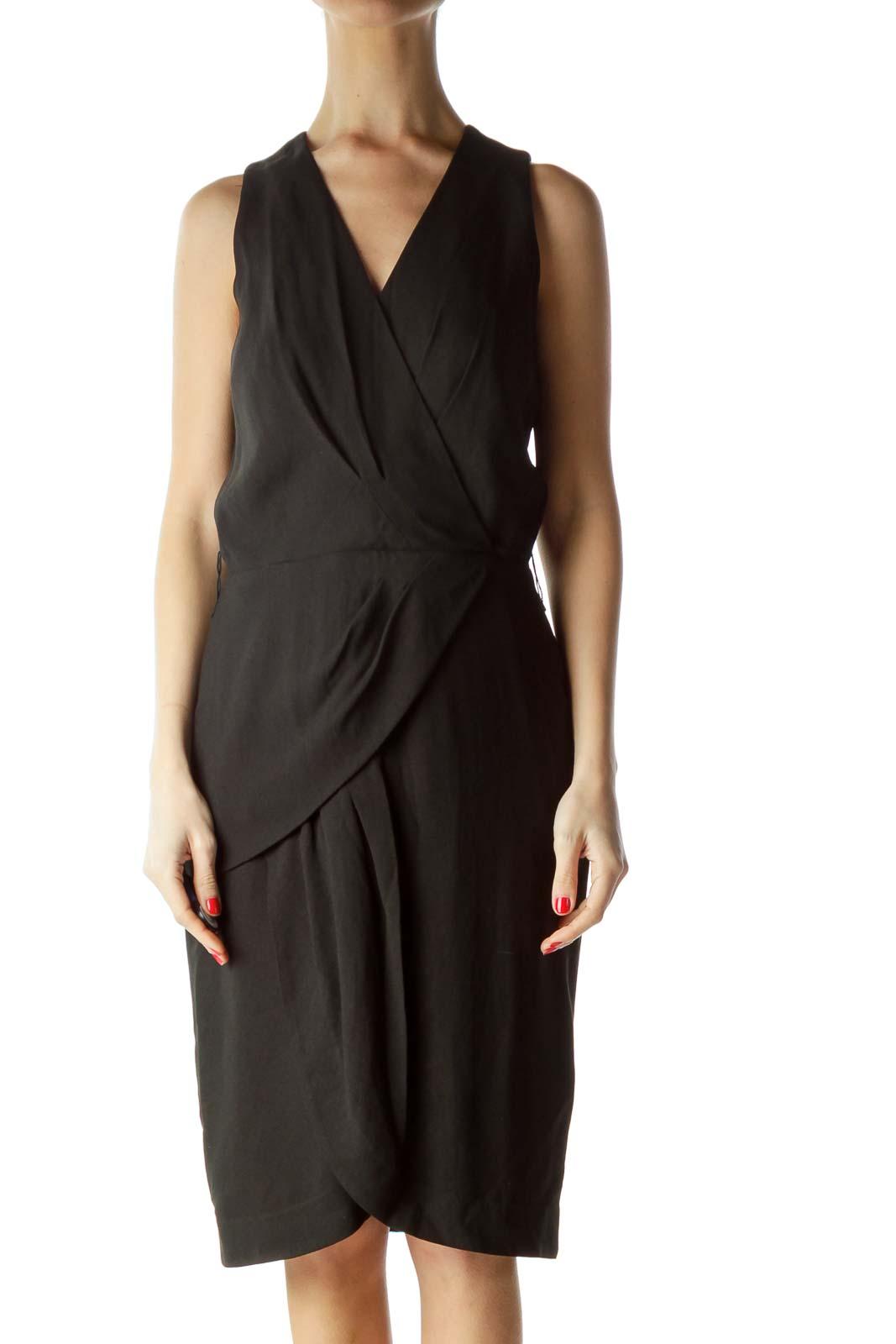 Black Layered V-Neck Work Dress