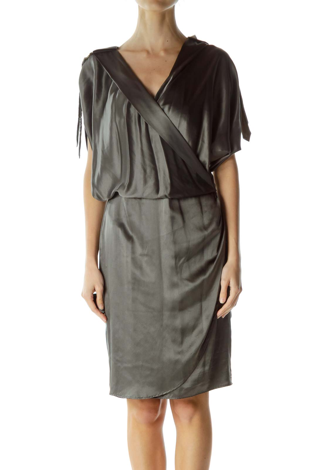 Gray Silk Short Sleeve Dress