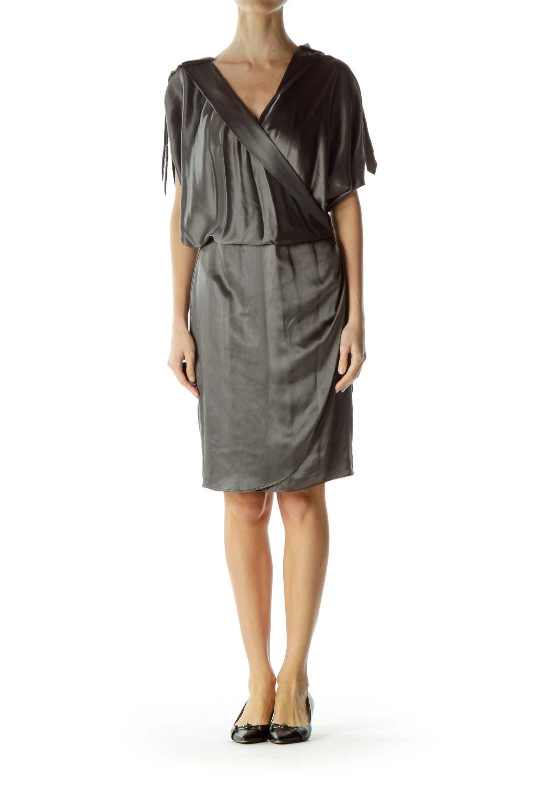Gray Silk Short Sleeve Dress