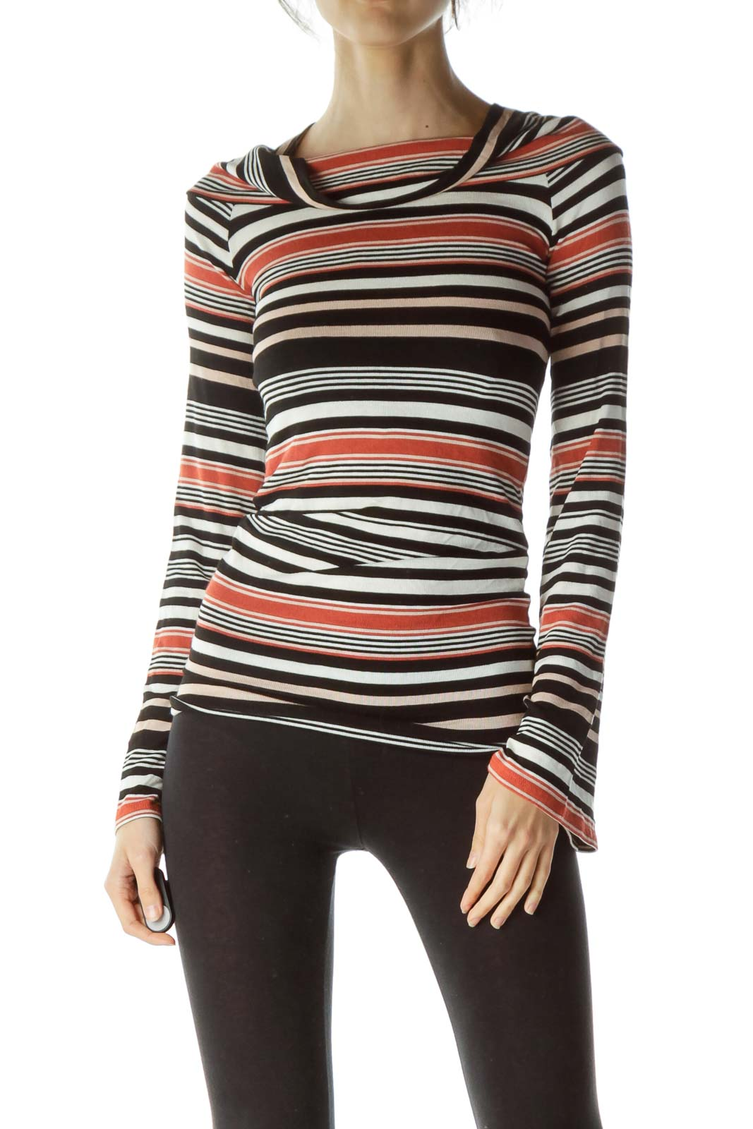 Multicolored Striped Cowl Neck Knit Top