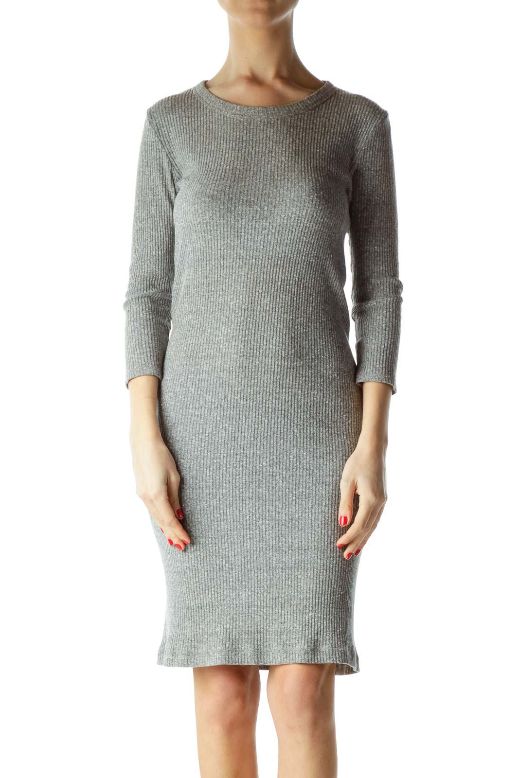 Gray 3/4 Sleeve Knit Dress