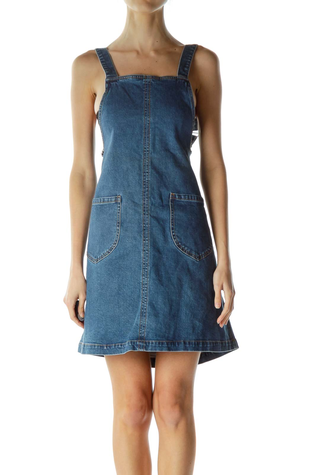 Blue Denim Pocketed Dress