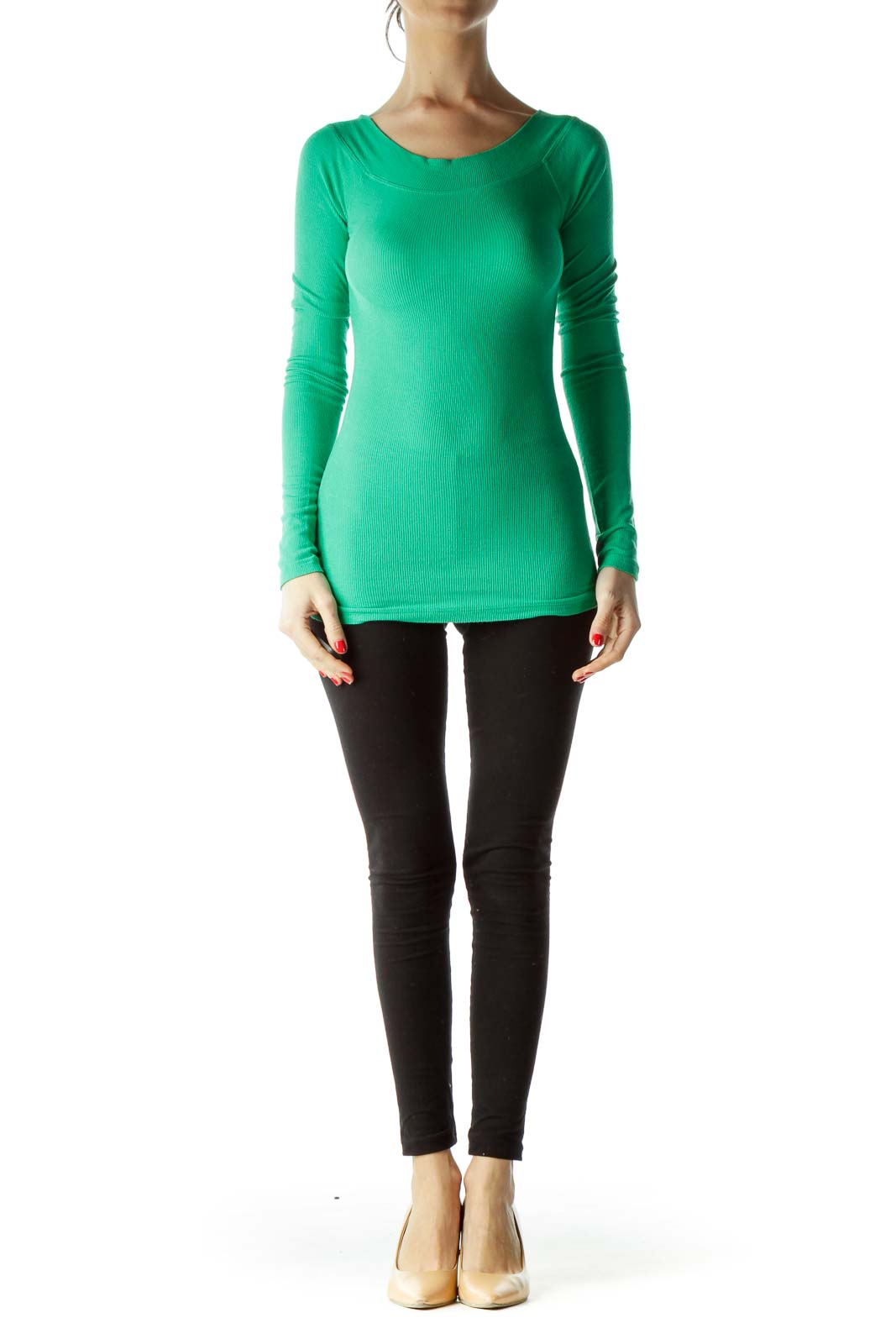 Green Boat Neck Long Sleeve Shirt
