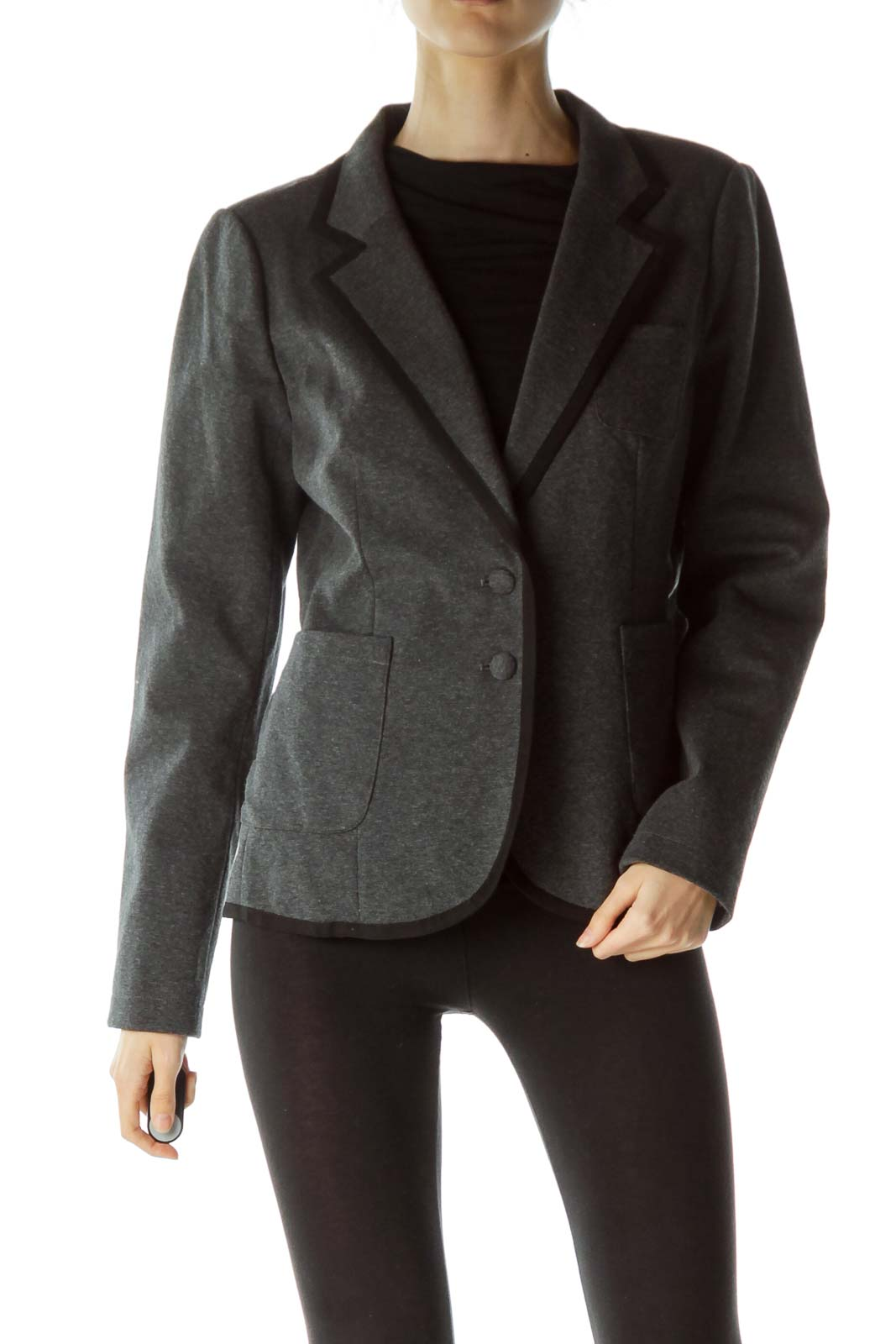 Gray Collared Pocketed Buttoned Blazer