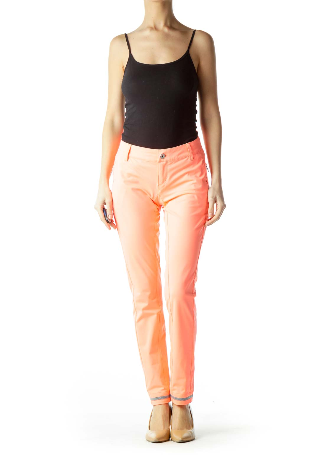 Orange Zippered Skinny Pants