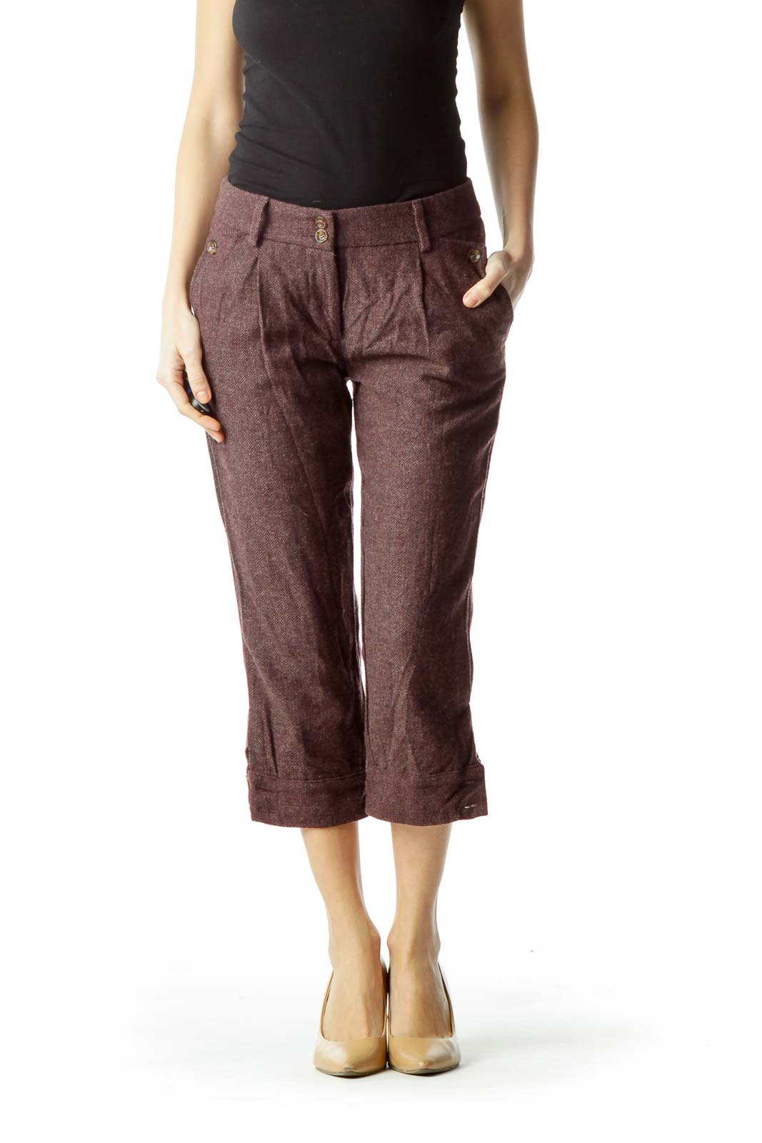 Burgundy Cropped Pants