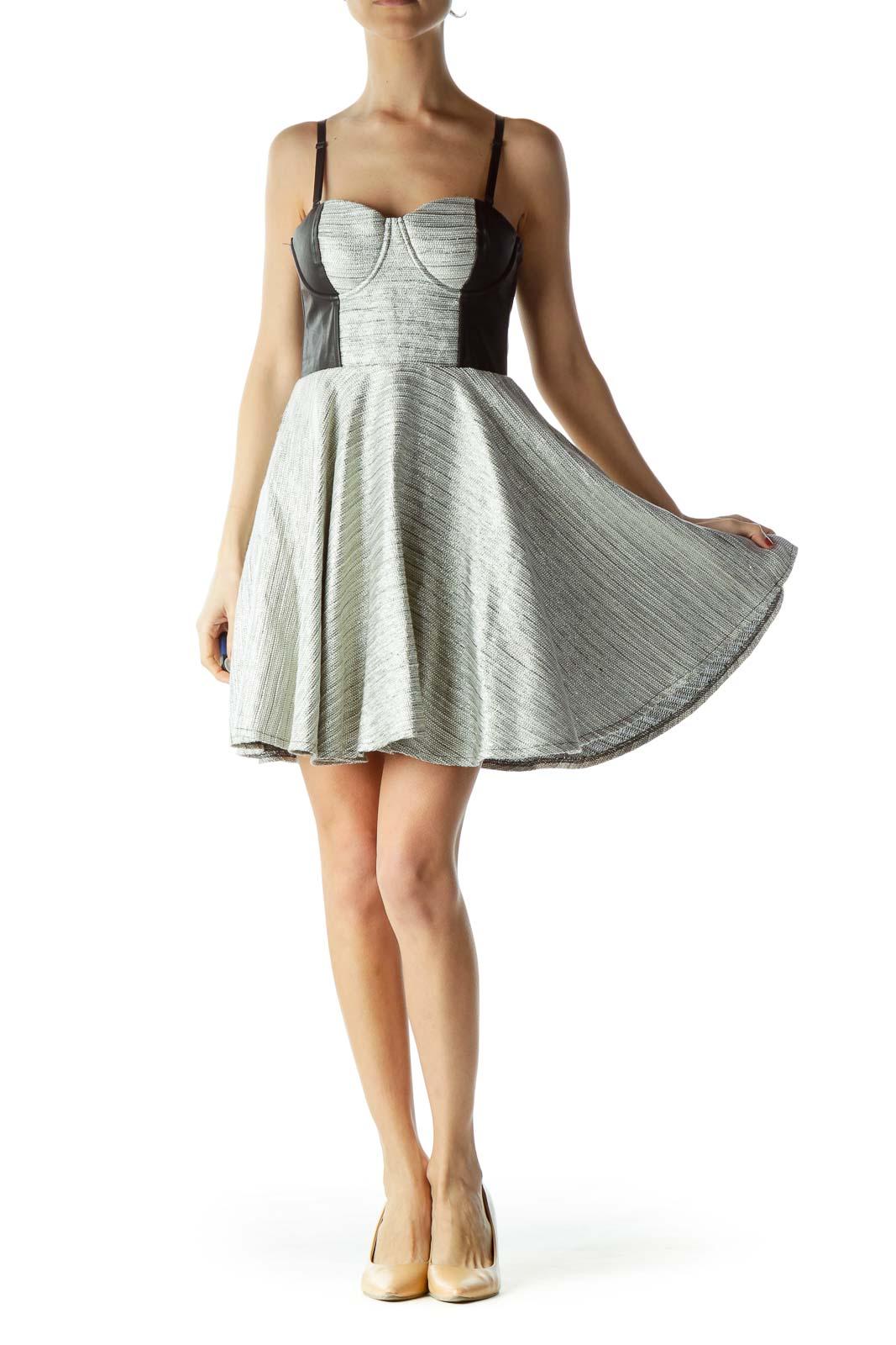Cream Metallic Tweed Corset Dress
