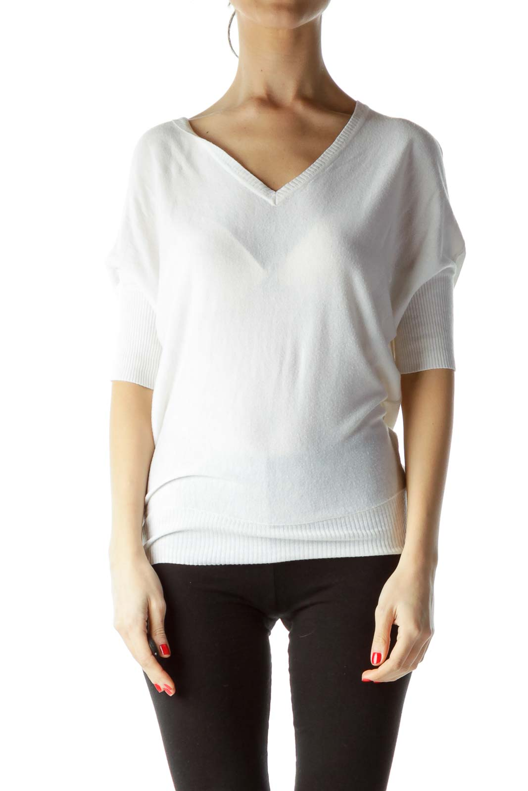 White V-Neck Knit Top