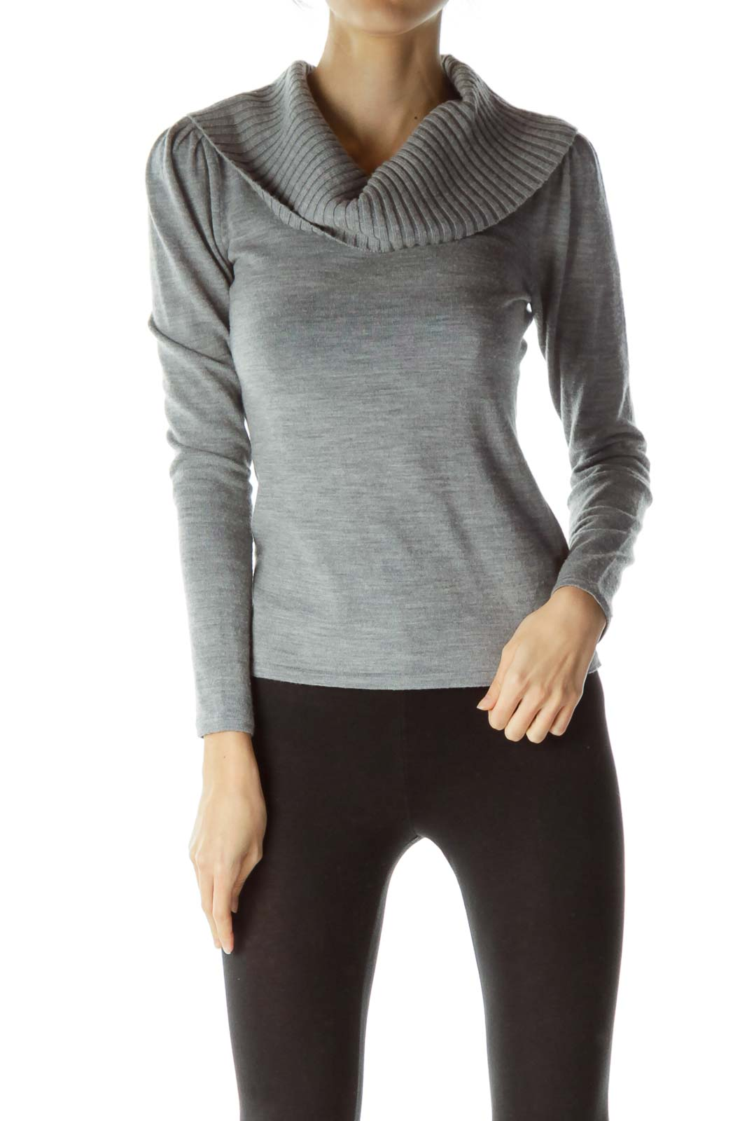 Gray Merino Wool Cowl Neck Sweater