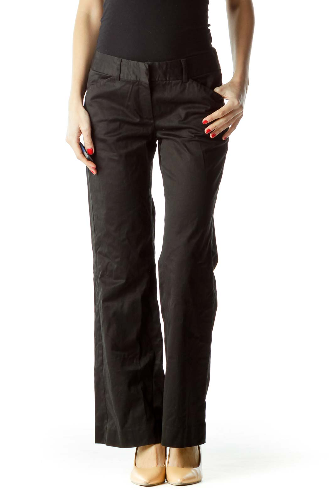 Black Wide-Leg Pocketed Slacks