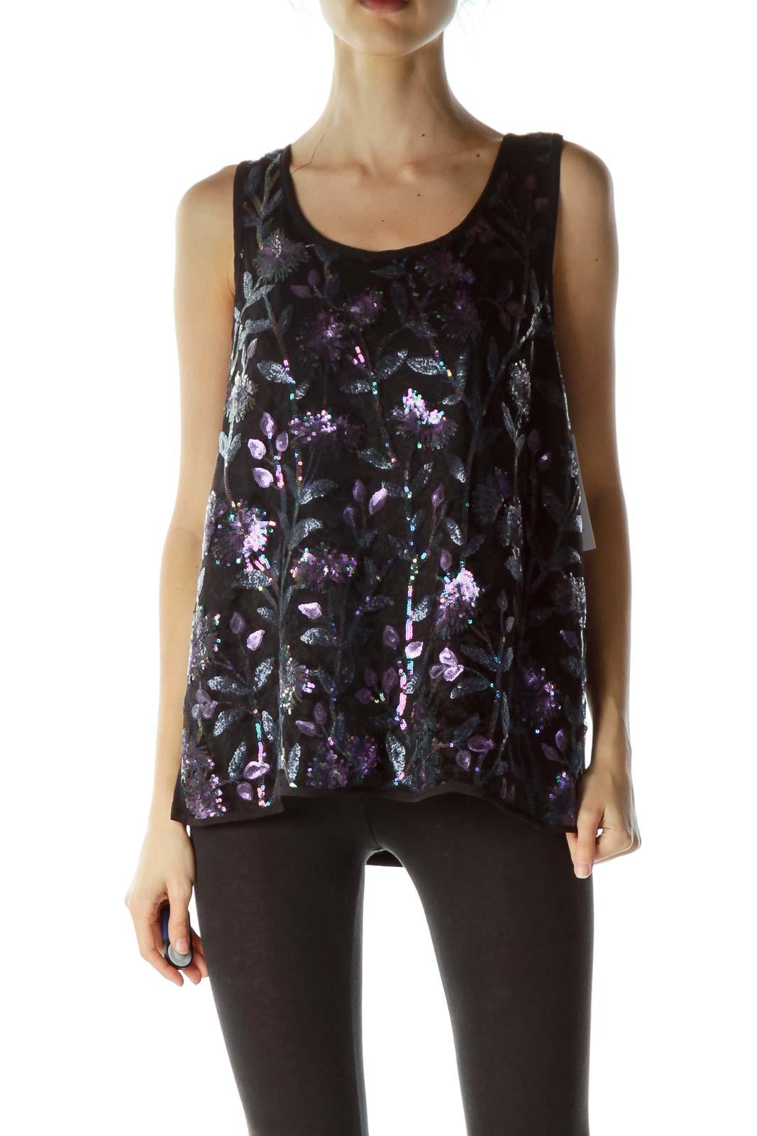 Black Purple Floral Sequins Sleeveless Blouse
