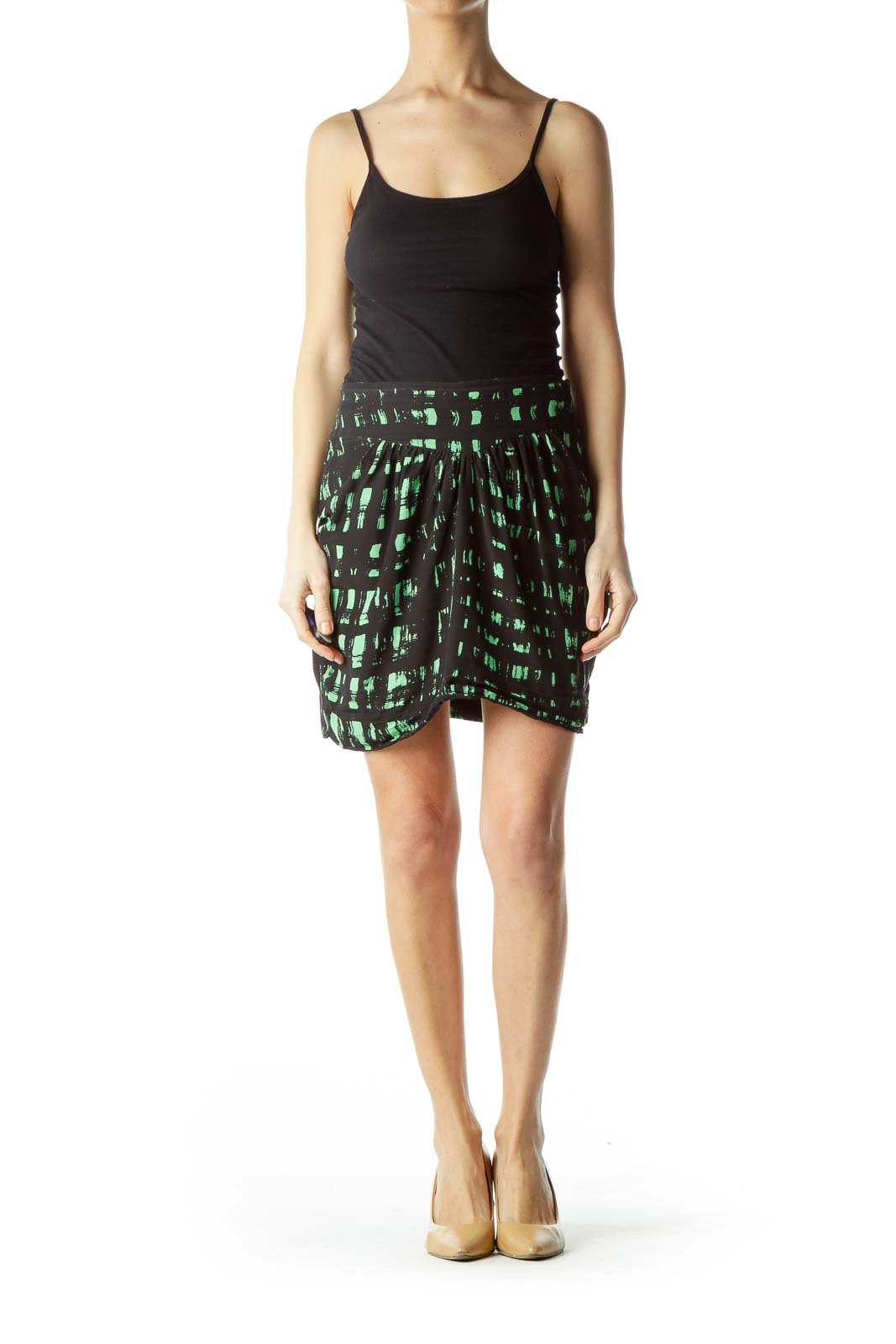 Black Green Print Silk Mini Skirt