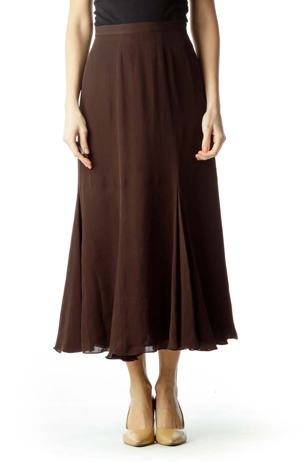Brown Pleated Silk Flared Skirt