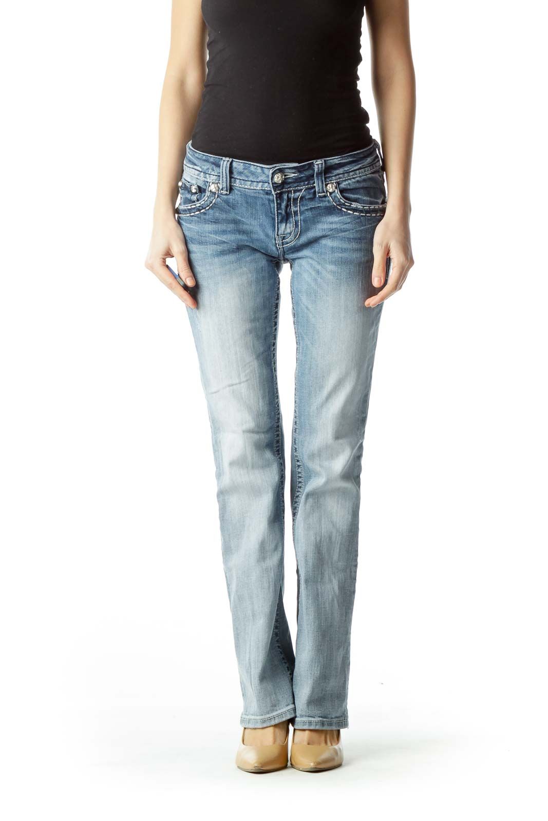 Light-Wash Blue Embellished Denim Jeans