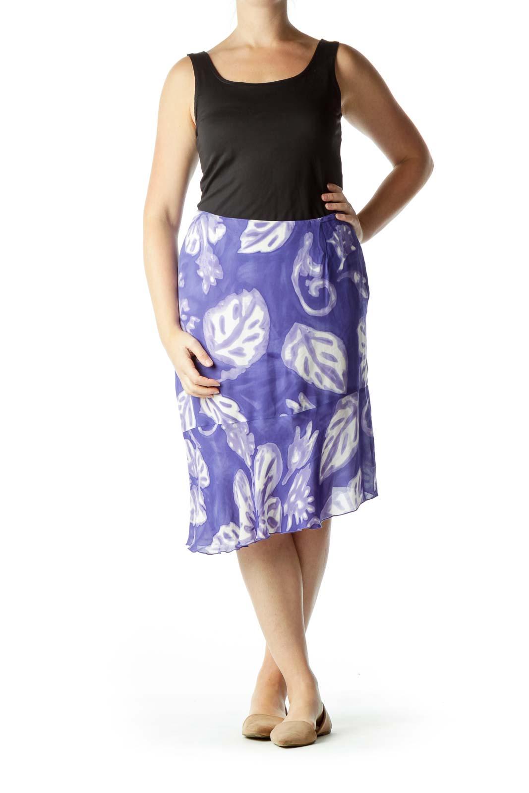 Blue and Cream Leaf Print Flared Skirt