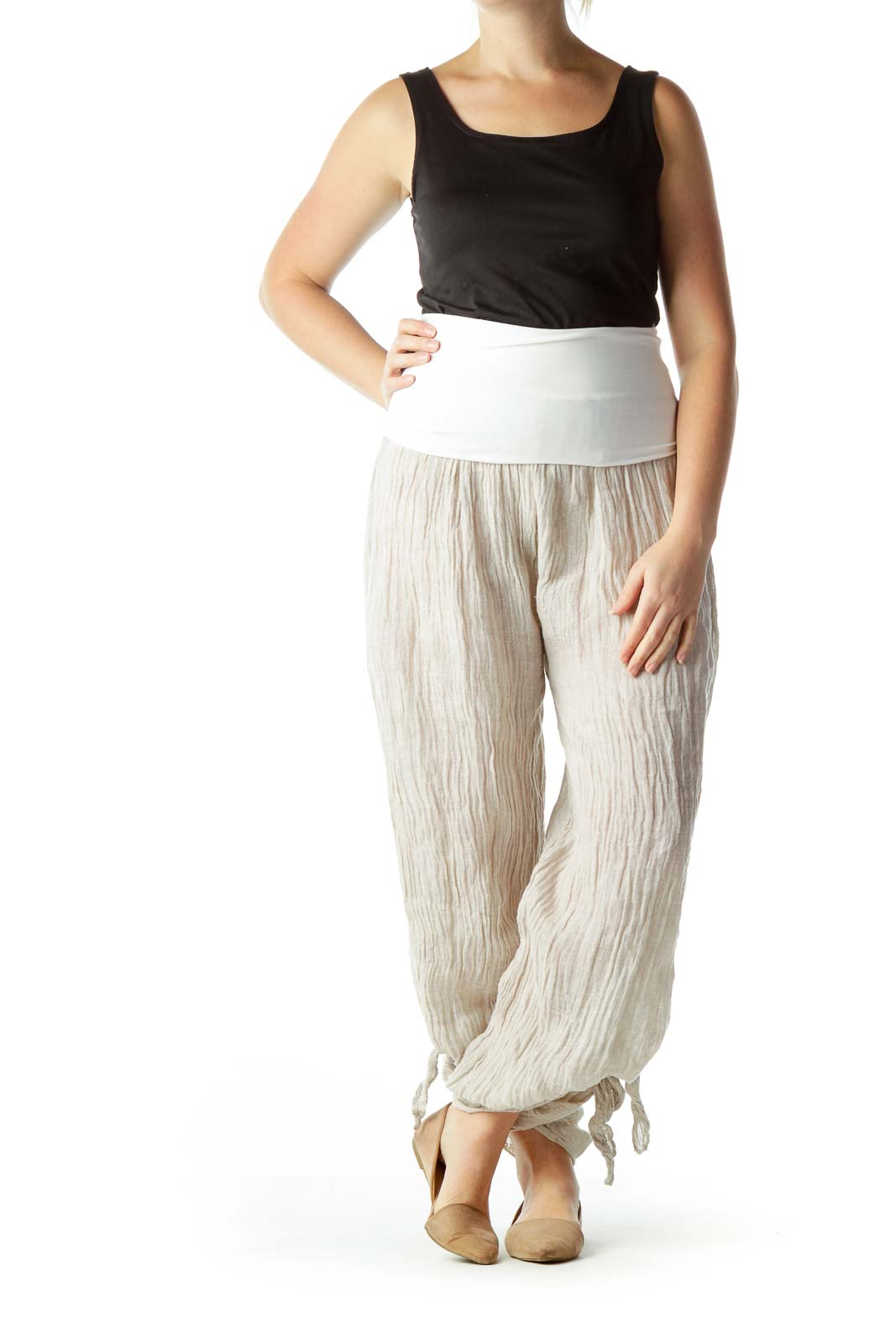 Beige 100% Linen See-Through Flared Pants