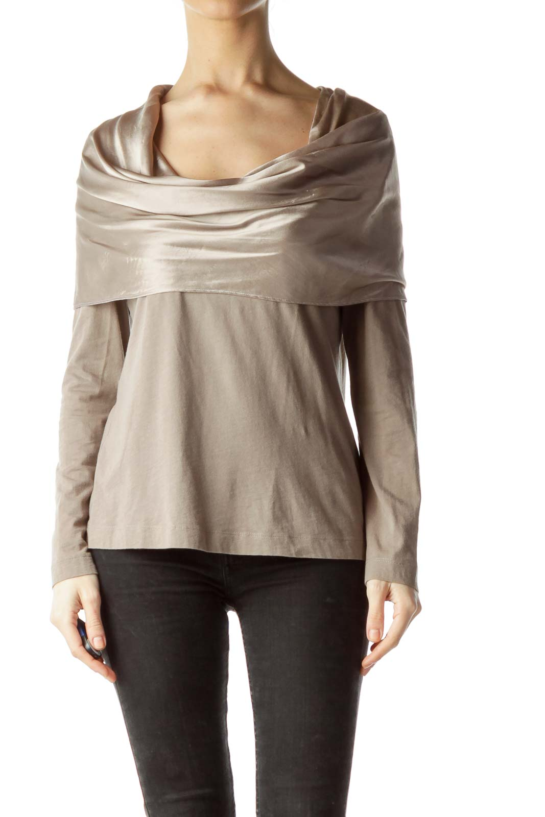 Gray Shiny Cowl Neck Long Sleeve Blouse