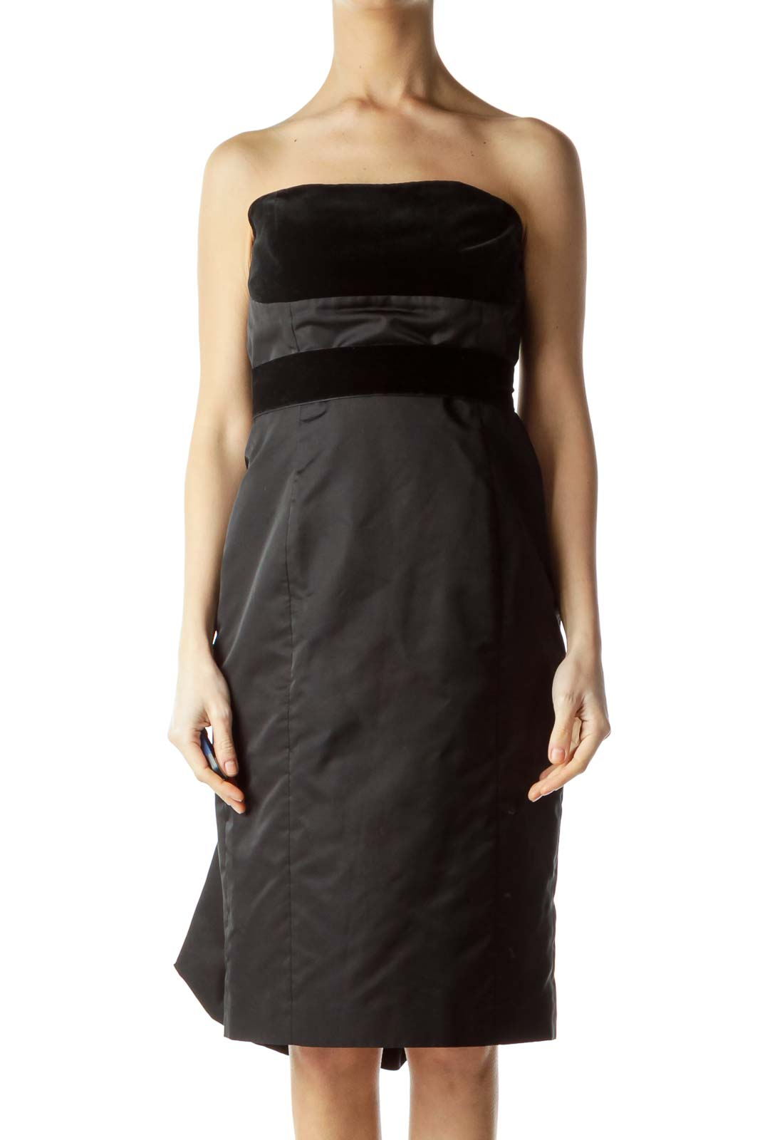 Black Velvet Ribbon Back Ruffled Dress