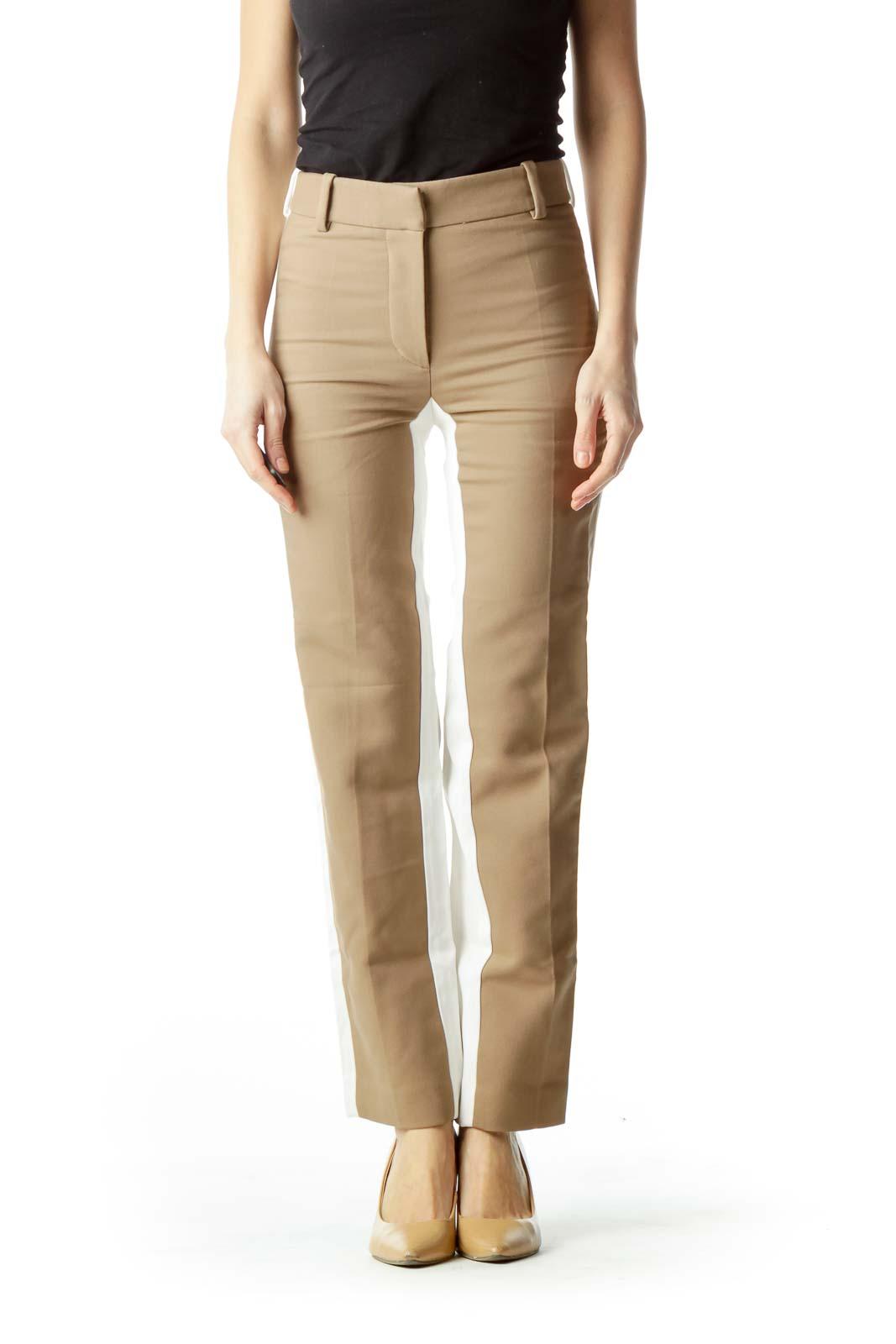Brown Front Cream Back Skinny Pants