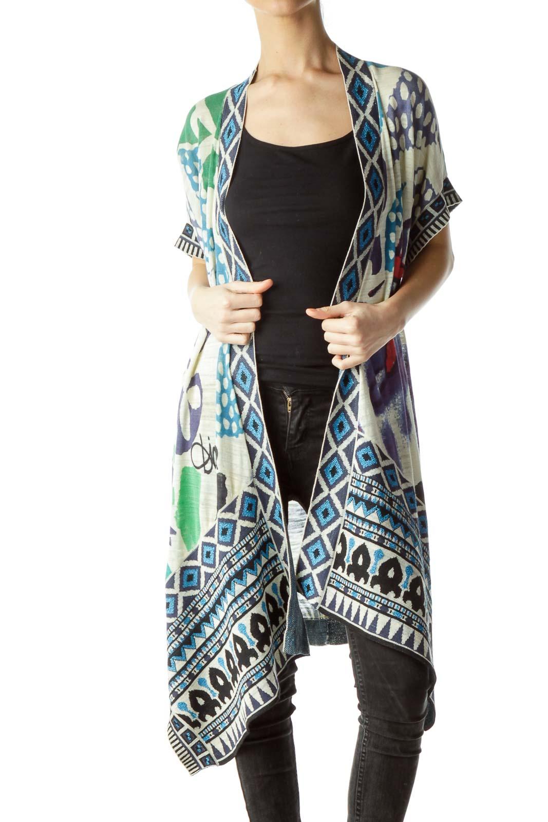 Multicolored Print Short Sleeve Knit Cardigan
