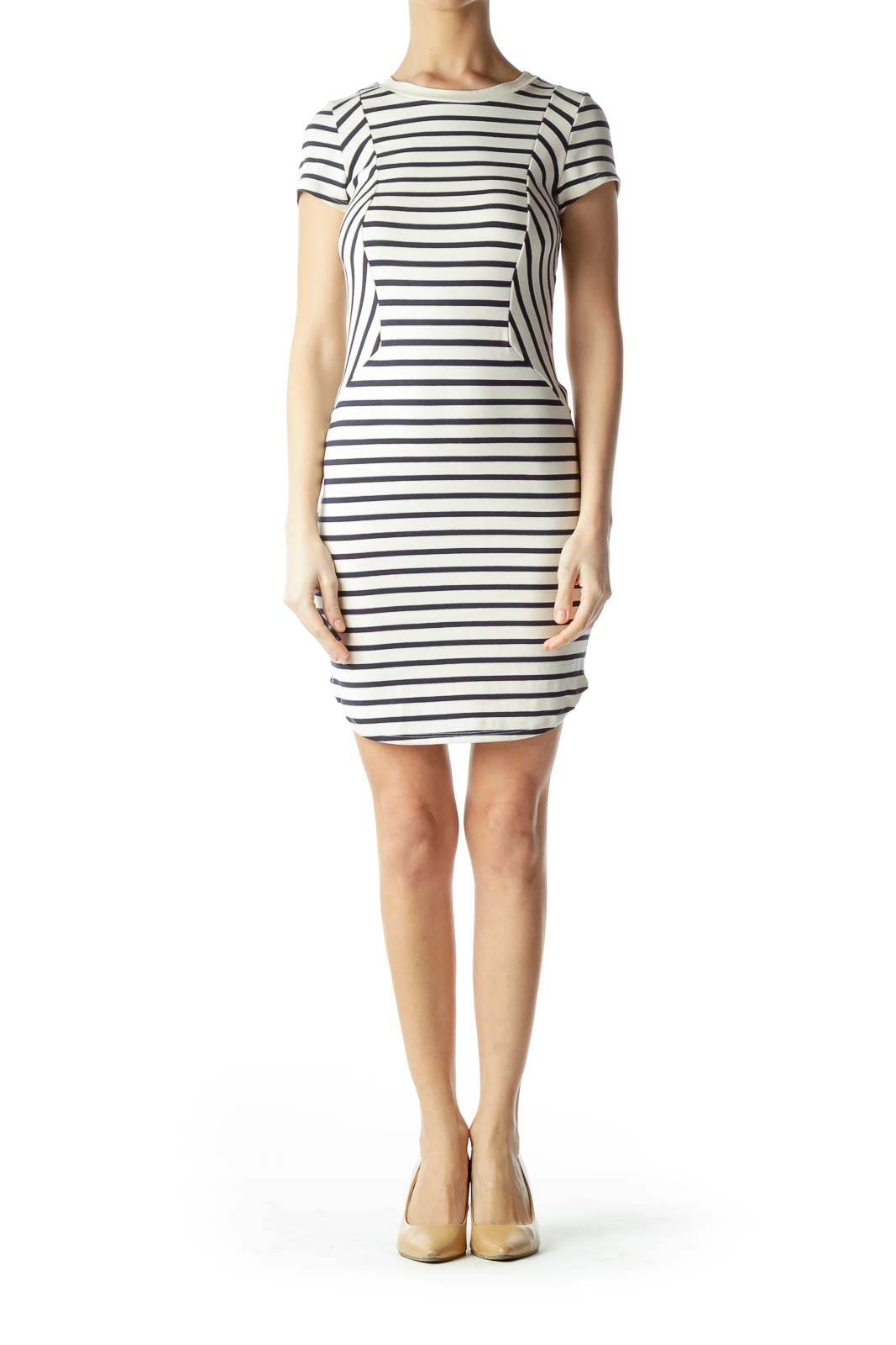 Cream with Navy Blue Stripes Jersey Dress