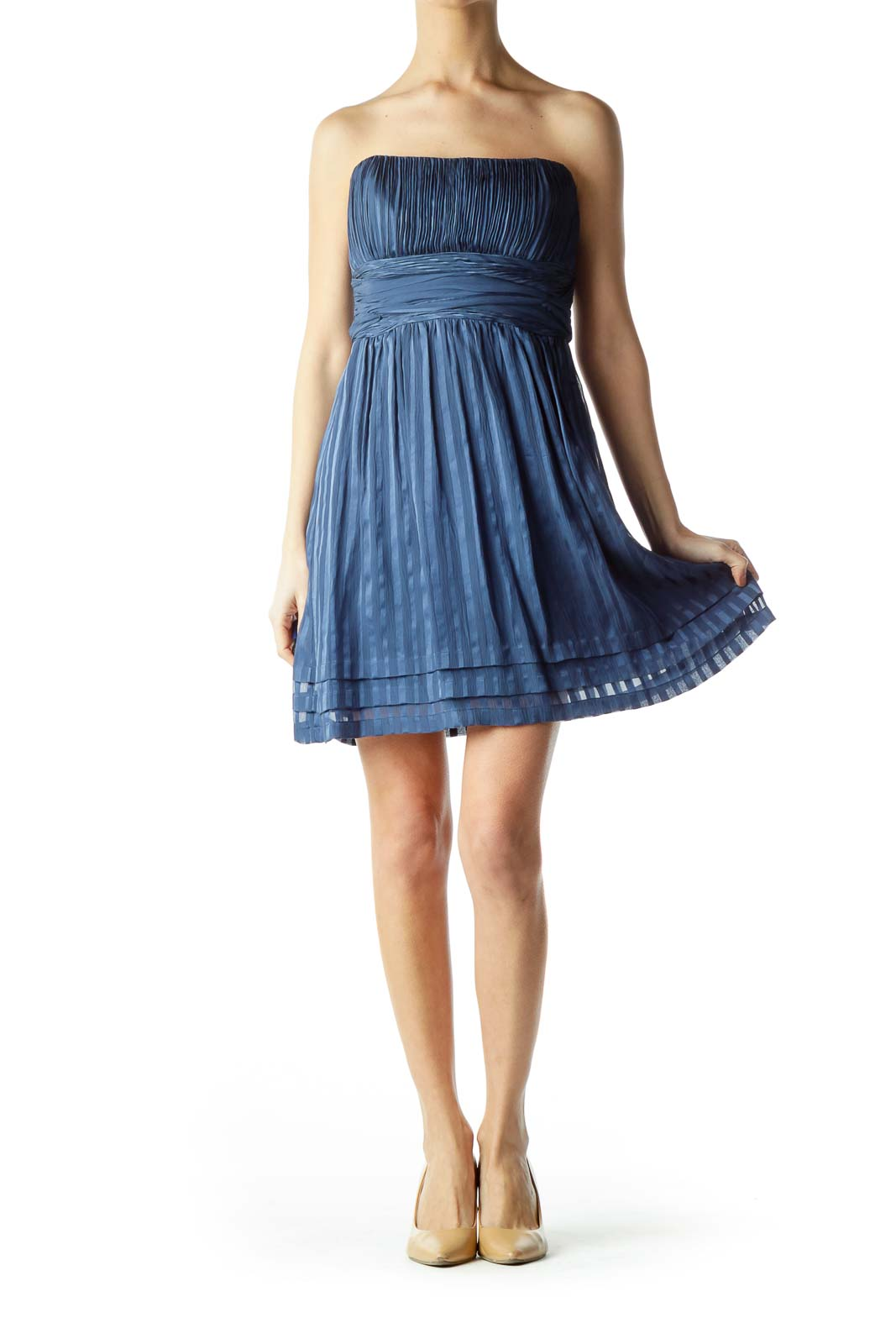 Blue Silk Pleated Strapless Cocktail Dress